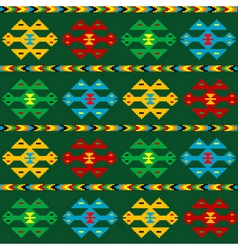 Green carpet with ethnic motifs vector image