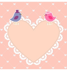 Romantic card with cute birds vector