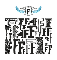 Stock set of monograms and initial letter F vector image