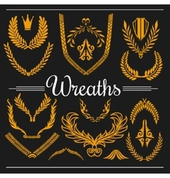 set of floral elements - leaves flowers branches vector image