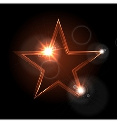 Glowing glossy star shape on black background vector