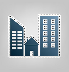 Real estate sign  blue icon with outline vector