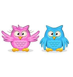 cartoon funny colored owls vector image