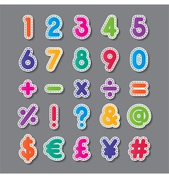 Paper numbers and symbols vector