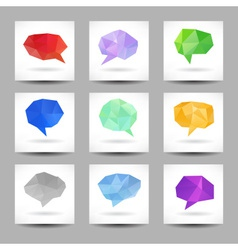 Set of speech bubbles with abstract triangles vector
