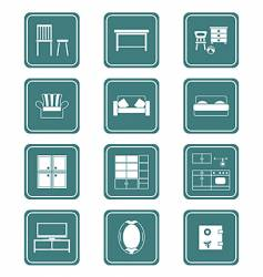 Furniture icons  teal series vector