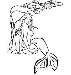 Sketch mermaid sitting in thickets of seaweed vector