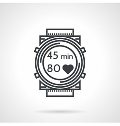 Fitness watch black line icon vector
