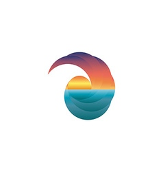 Summer tourism mockup logo sun at sunset design vector