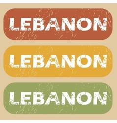 Vintage lebanon stamp set vector