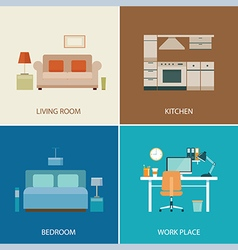 Set of interior design room vector