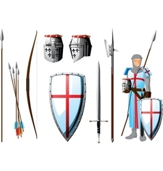 crusader set vector image