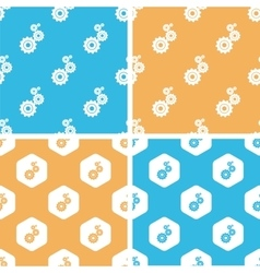 Gears pattern set colored vector
