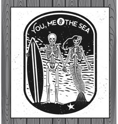 Skeleton surfer art vector