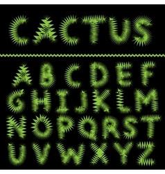 Cactus letter set vector