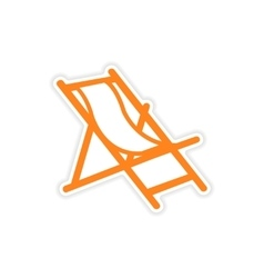 Icon sticker realistic design on paper deck chair vector
