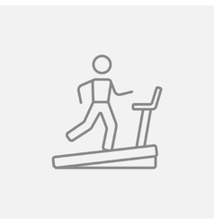 Man running on treadmill line icon vector