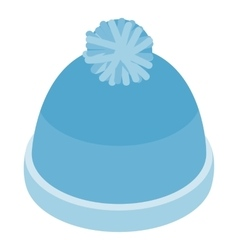 Blue knitted haticon isometric 3d style vector