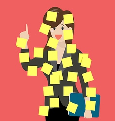 Sticky notes girl vector