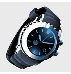 Modern mens watch with metal strap and black dial vector