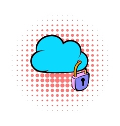 Cloud security icon comics style vector
