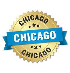 Chicago round golden badge with blue ribbon vector
