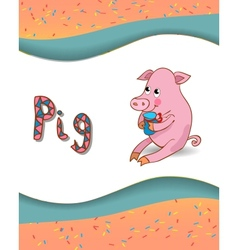 Alphabet letter P and pig vector image