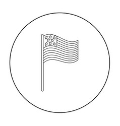 American flag icon in outline style isolated on vector