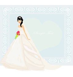 Beautiful bride with red roses card vector