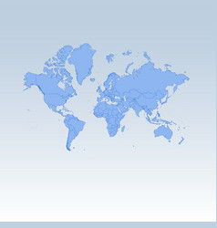 blue detailed worldmap isolated on white blue vector image