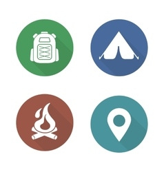 Camping flat design icons set vector