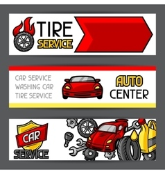 Car repair banners design with service objects and vector