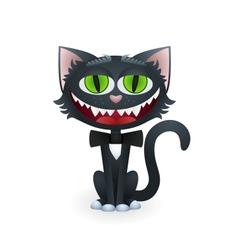 Cartoon black cat with bow tie vector