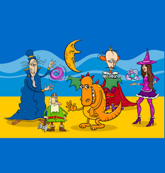 cartoon fantasy characters group vector image