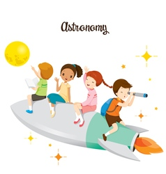 Children sitting on rocket going to the moon vector