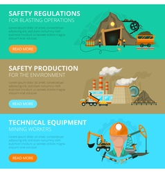 Coal mining 3 flat interactive banners vector image vector image