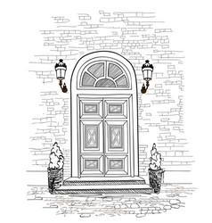 door way background house entrance building facade vector image vector image