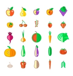 Farm fruits and vegetables flat icons set vector image