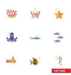 Flat icon marine set of cancer hippocampus algae vector