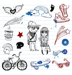 Hipsters doodle set vector image vector image
