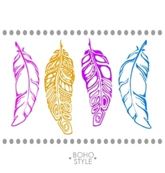 indian Boho feather hand drawn vector image vector image