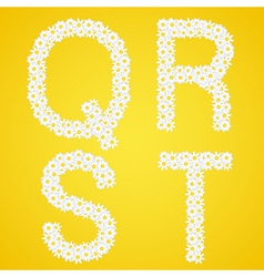 Letters qrst composed from daisy flowers complete vector