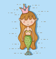 little mermaid art cartoon vector image vector image