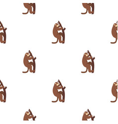 Macaque is climbing up on a tree pattern seamless vector