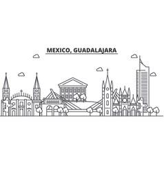 Mexico guadalajara architecture line skyline vector