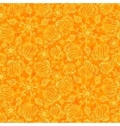 Orange abstract doodle flowers seamless pattern vector image