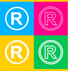 Registered trademark sign four styles of icon on vector