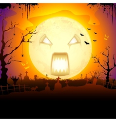 Scary Monn in Halloween vector image