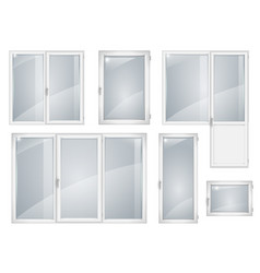 set of white plastic windows vector image