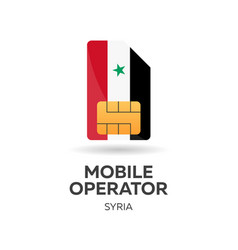 Syria mobile operator sim card with flag vector